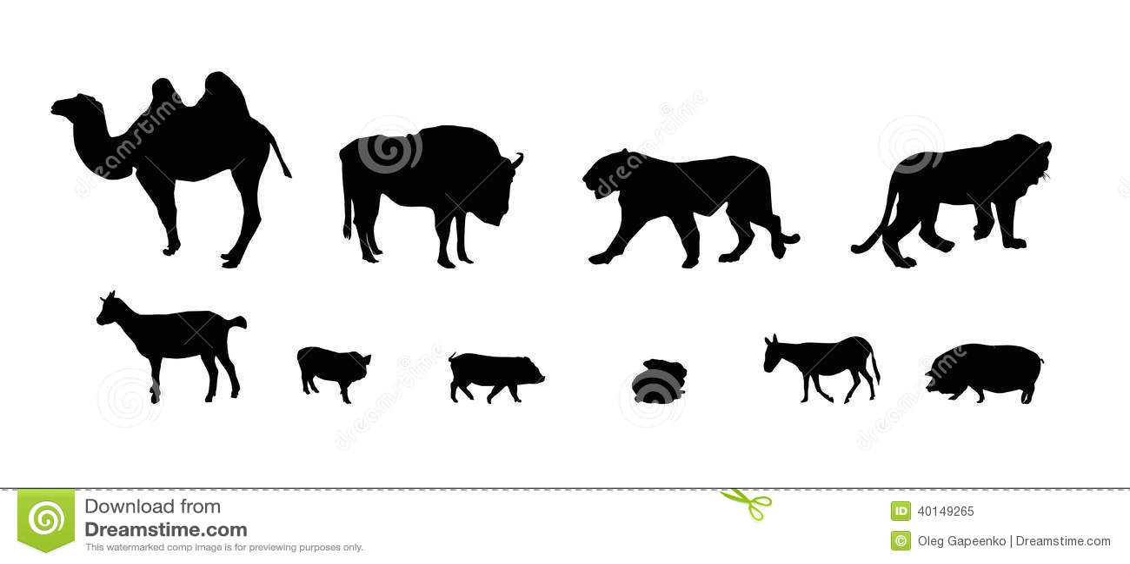 Silueta De Animales Salvajes Y Domésticos. Negro Y Blanco
