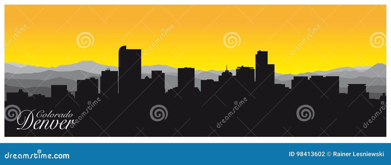Silueta de Denver la capital de Colorado