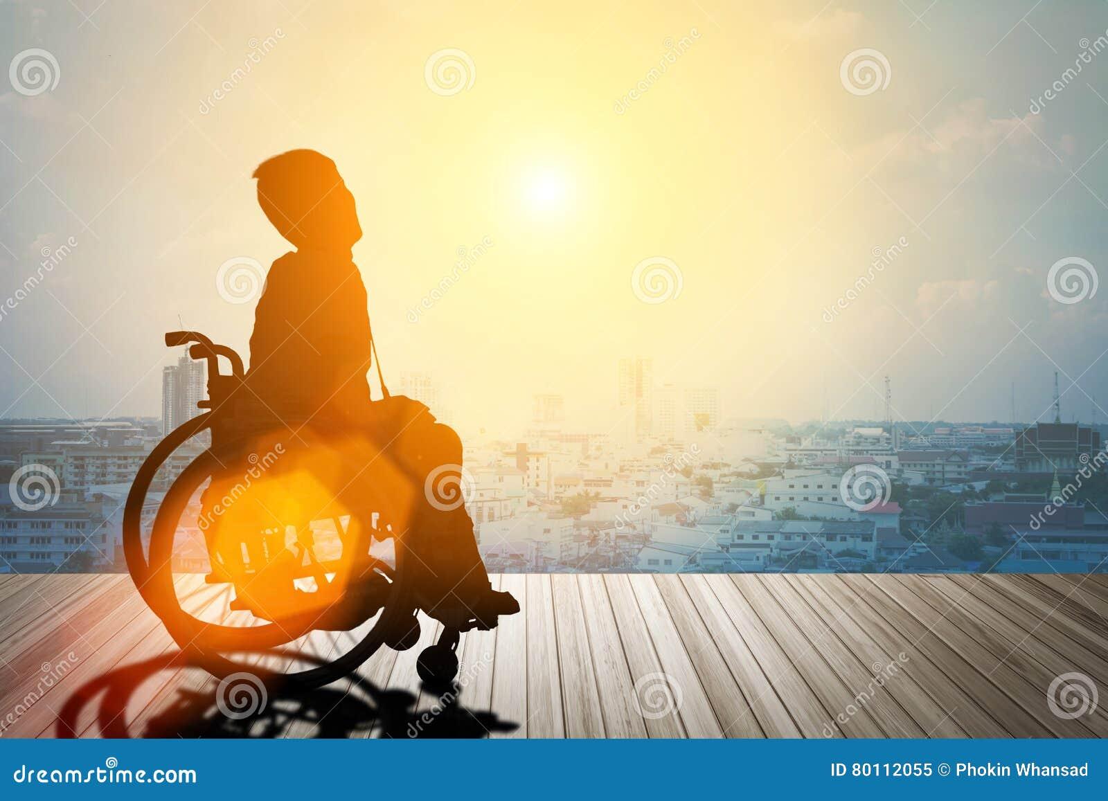 Silueta de discapacitado en la silla de ruedas