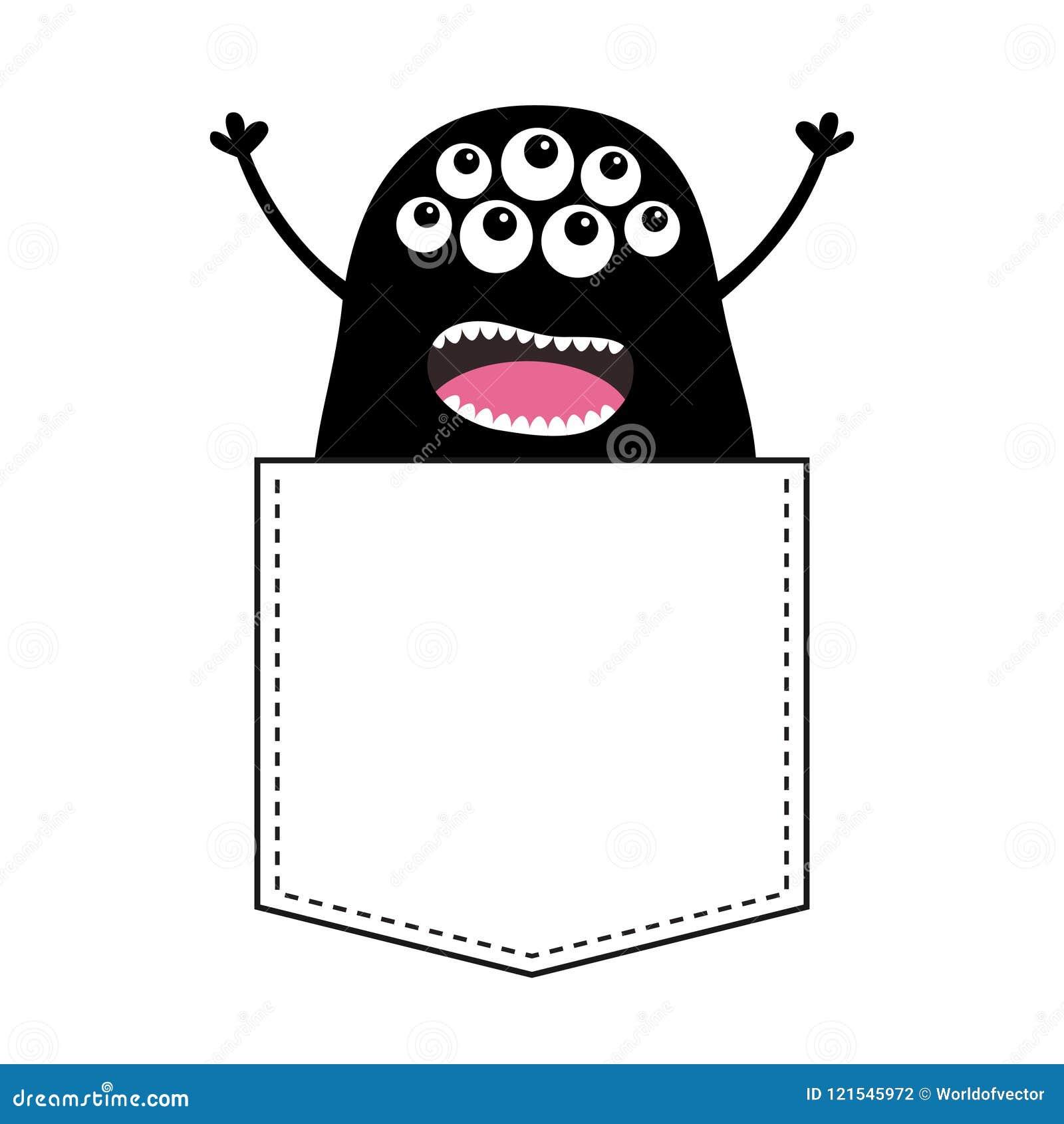 Silueta de griterío negra del monstruo en el bolsillo Manos para arriba  Carácter divertido asustadizo de la historieta linda Colección del bebé  Diseño de la ... fe8343b379078