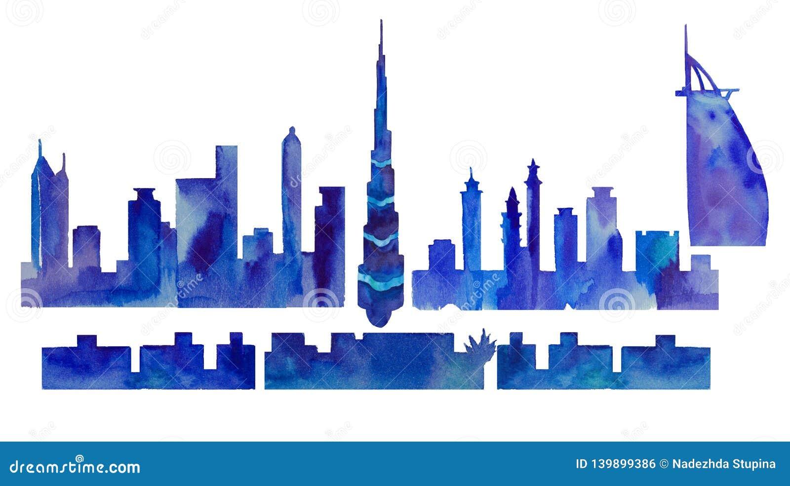 Silueta de la acuarela de Dubai
