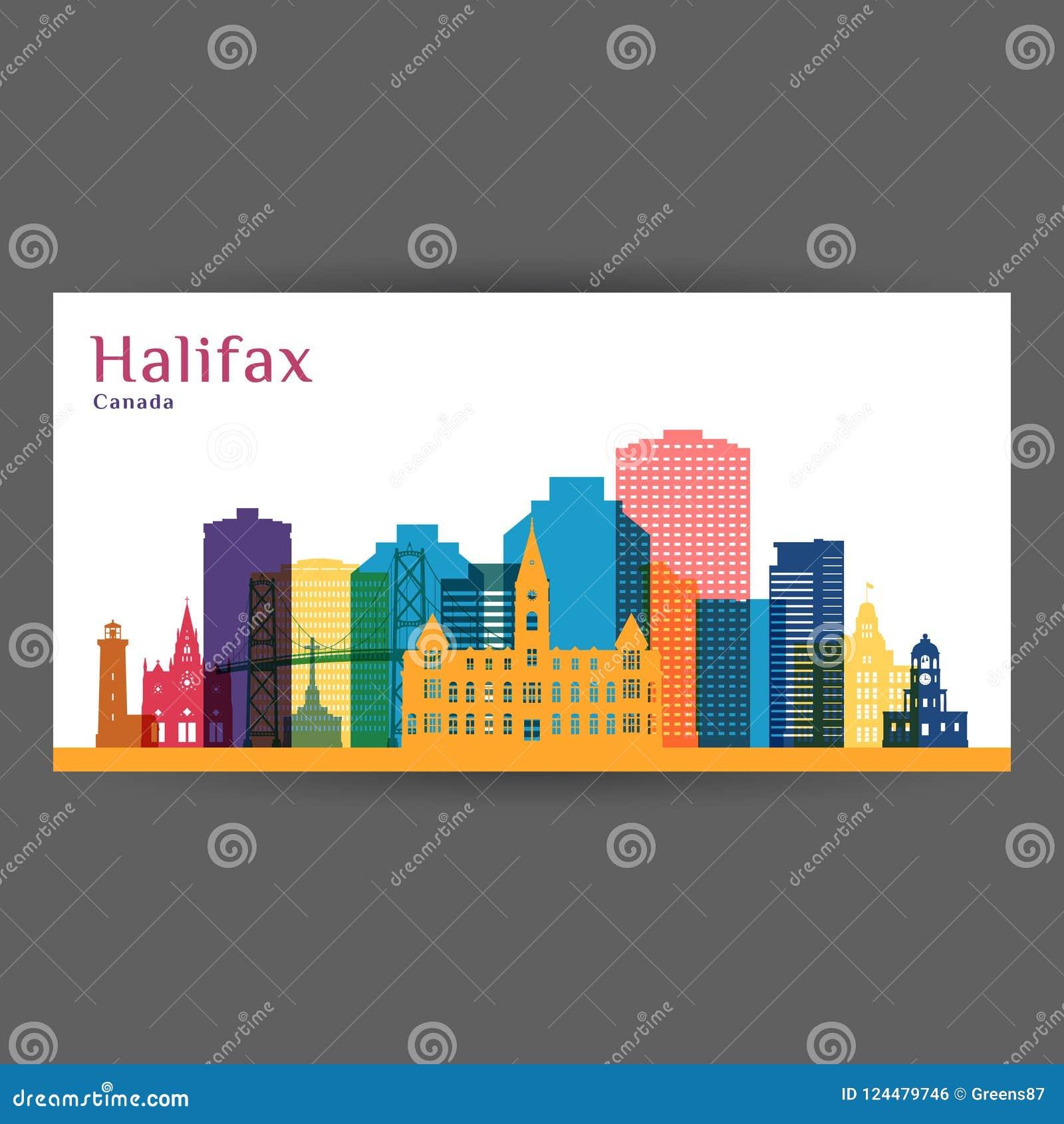 Silueta de la arquitectura de la ciudad de Halifax