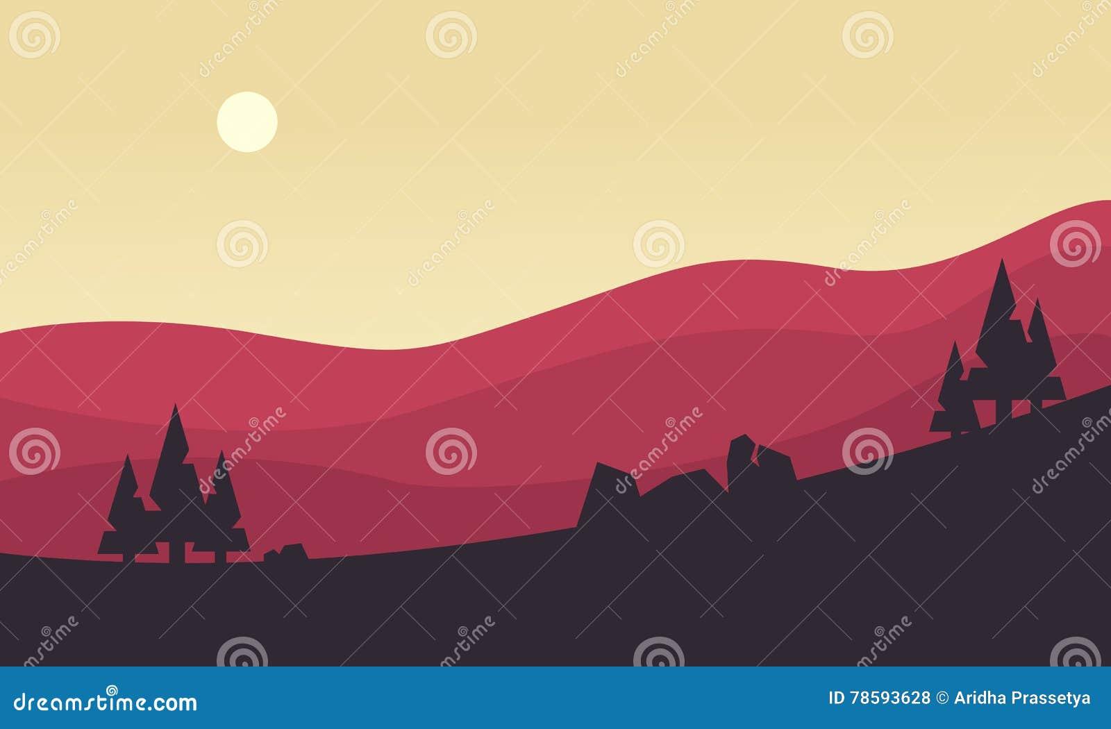 Silueta de la colina en la salida del sol