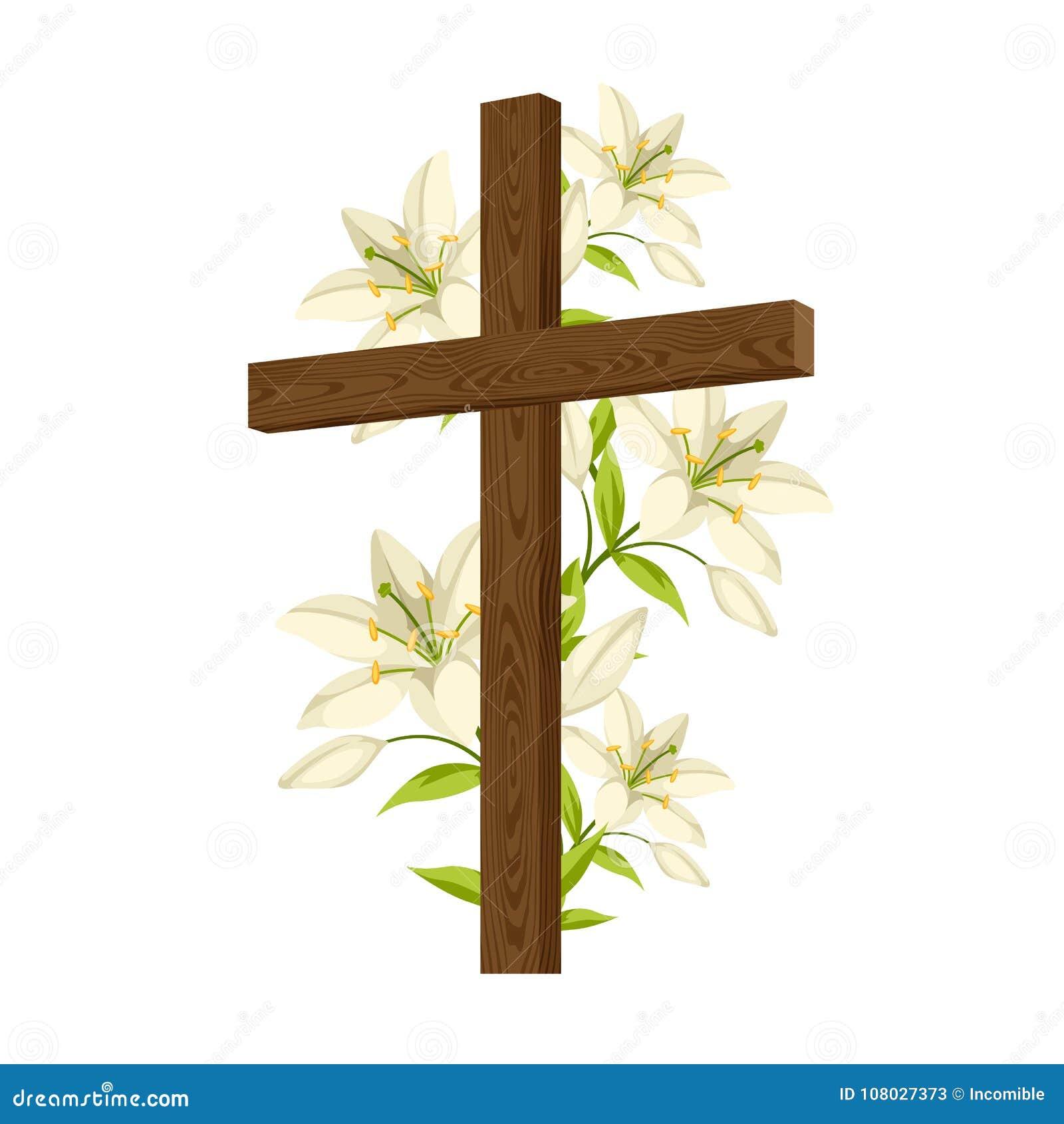 Silueta de la cruz de madera con los lirios Tarjeta feliz del ejemplo o de felicitación del concepto de Pascua Símbolos religioso