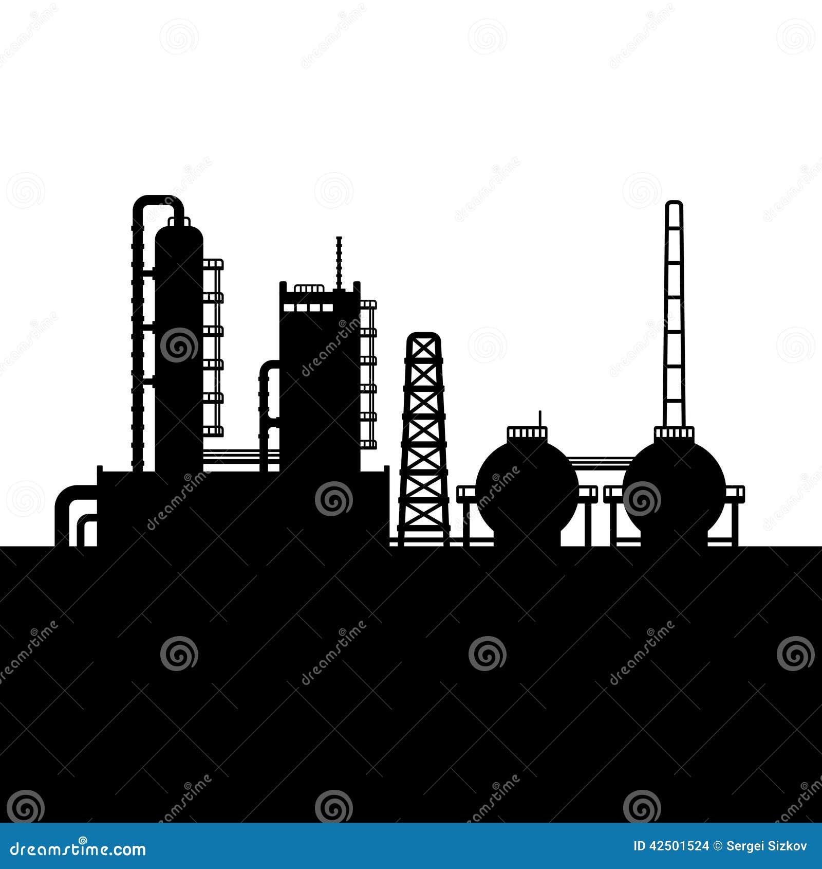 Silueta de la fábrica de la planta y de la sustancia química de la refinería de petróleo