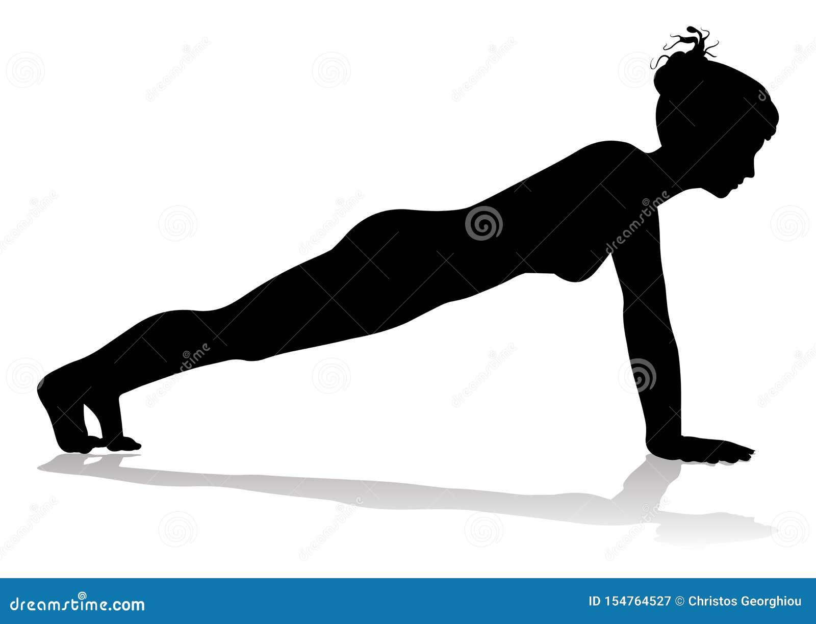 Silueta de la mujer de la actitud de Pilates de la yoga