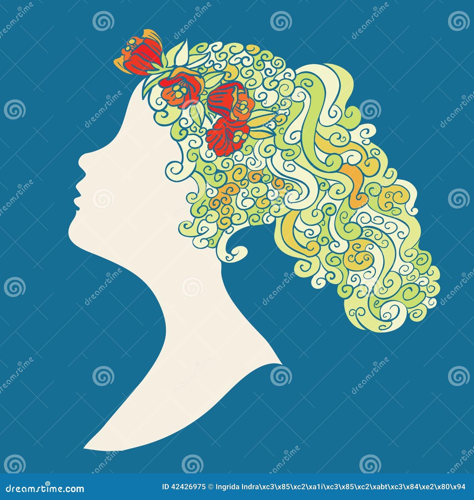 Silueta de la mujer con las flores en swirly pelo