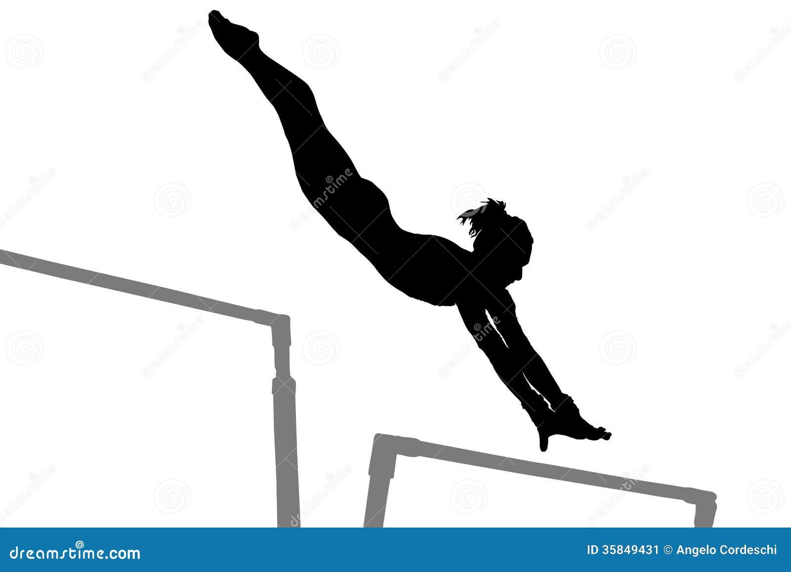 Silueta de la mujer de la gimnasia
