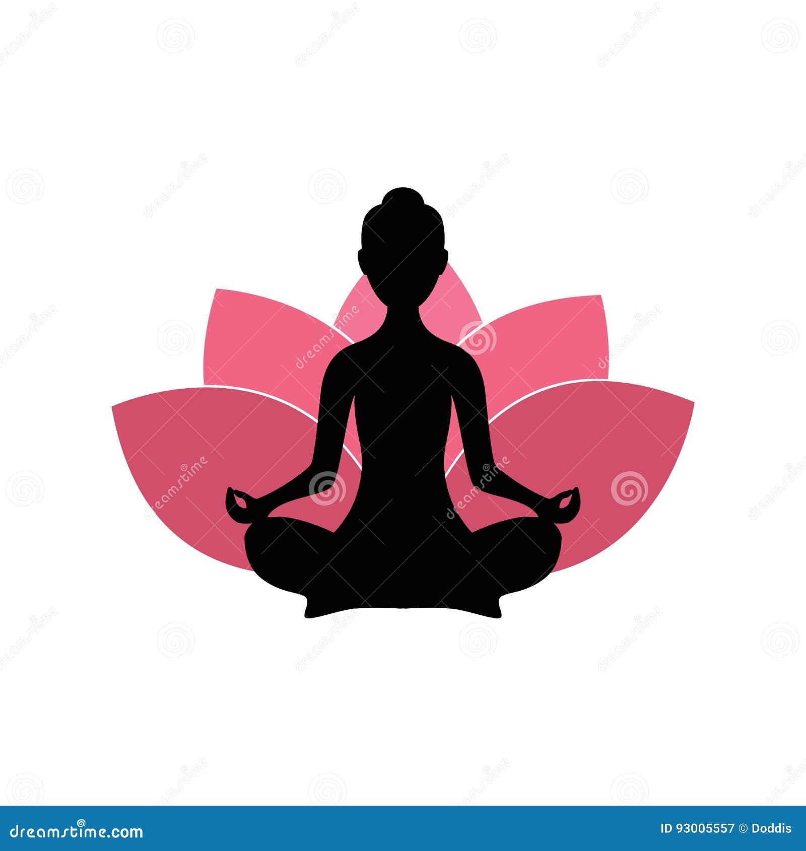 Silueta de la mujer de la yoga, Lotus Flower Background Logo Design rosada