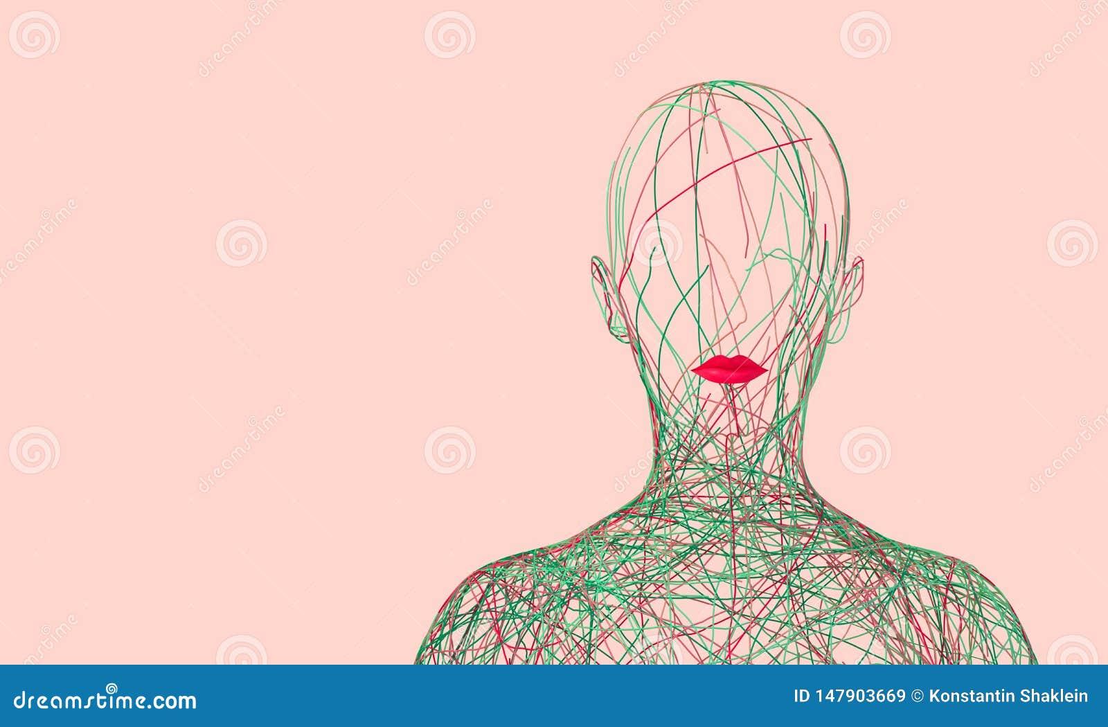 Silueta de la mujer que consiste en los alambres coloreados enredados en fondo rosado
