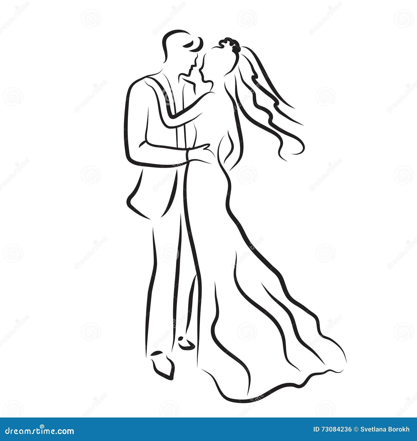 Silueta De La Novia Y Del Novio Bosquejo De Los Recienes Casados
