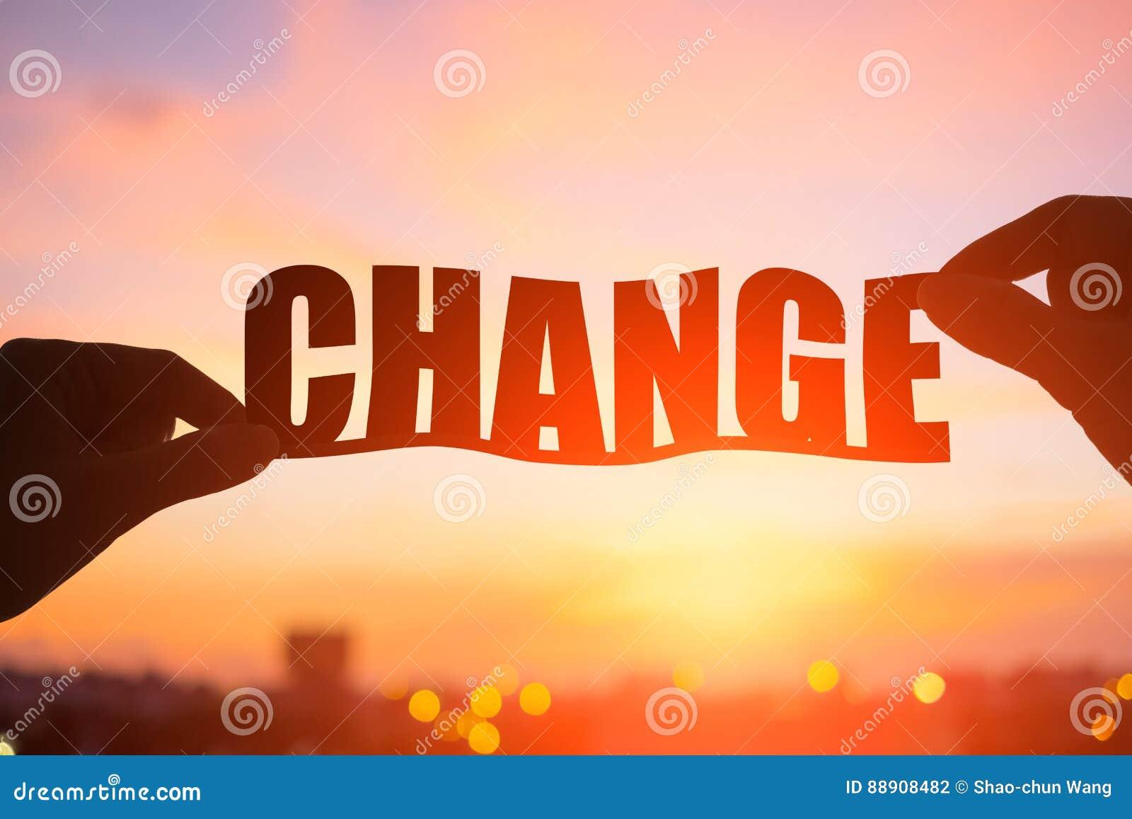 Silueta de la palabra del cambio