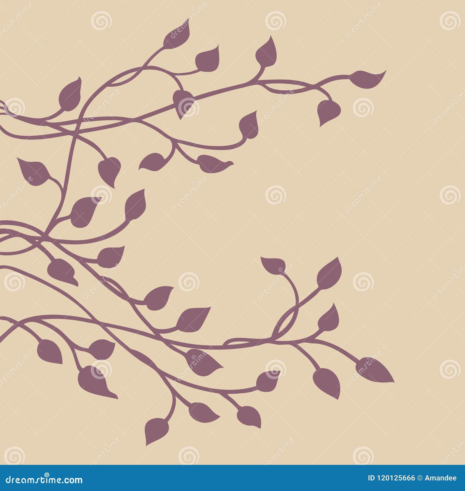 Silueta de la vid de la hiedra, elemento lateral decorativo floral púrpura elegante del diseño de la frontera de hojas, diseño bo