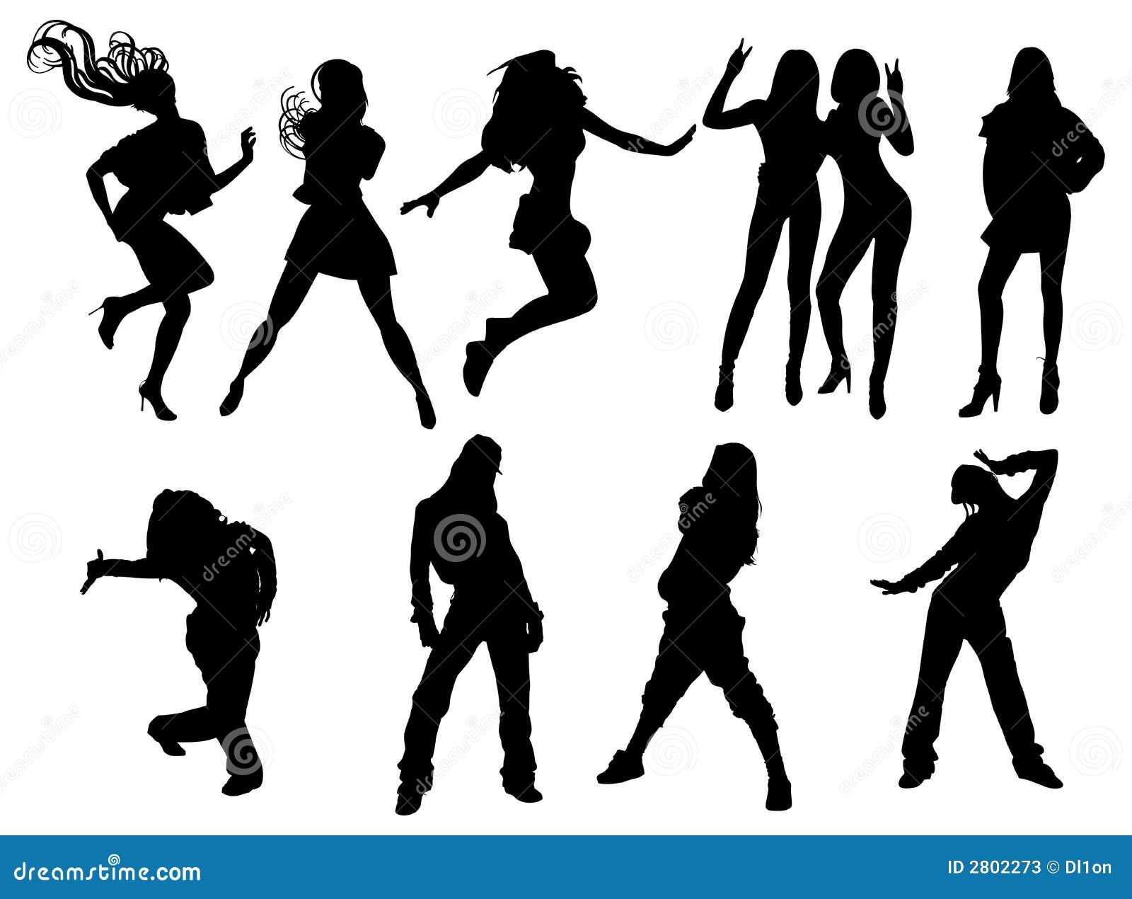 Silueta de las muchachas de baile