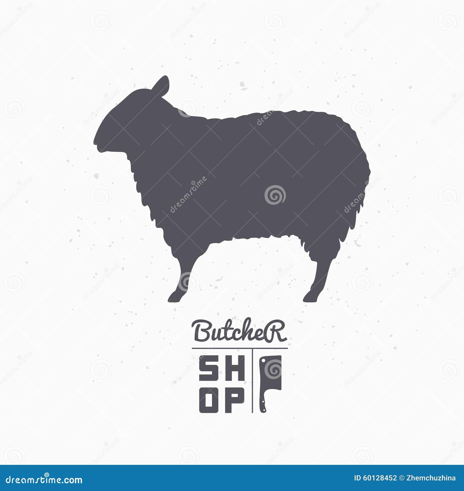 Silueta De Las Ovejas Carne Del Cordero Plantilla Del Logotipo De La ...