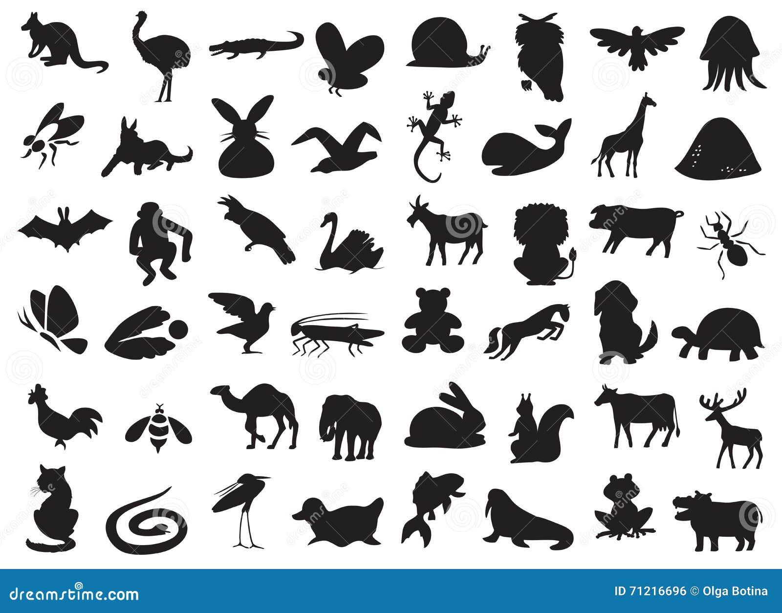 Silueta De Los Animales Salvajes Y Domésticos