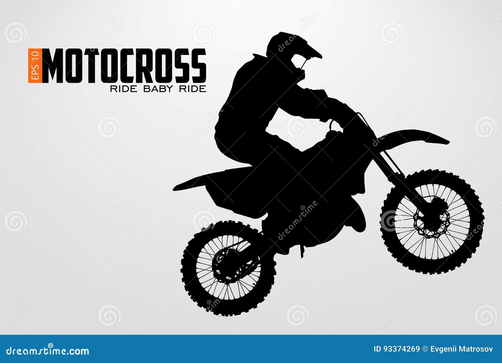 Silueta de los conductores del motocrós Ilustración del vector