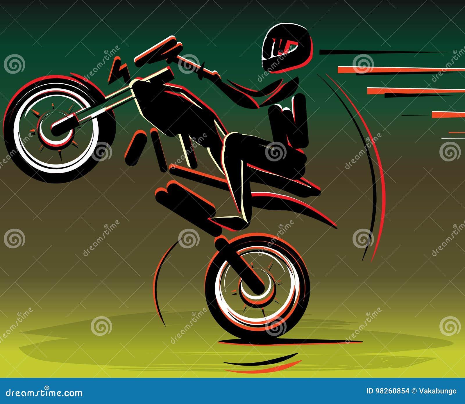 Silueta de los conductores del motocrós Motocicleta de la moto Deporte del corredor de la motocicleta