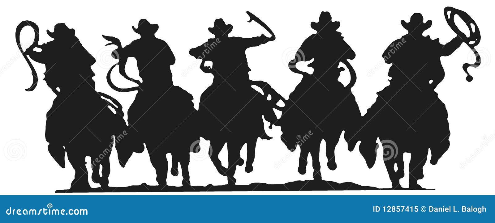 Silueta De Los Vaqueros Stock De Ilustraci 243 N Ilustraci 243 N