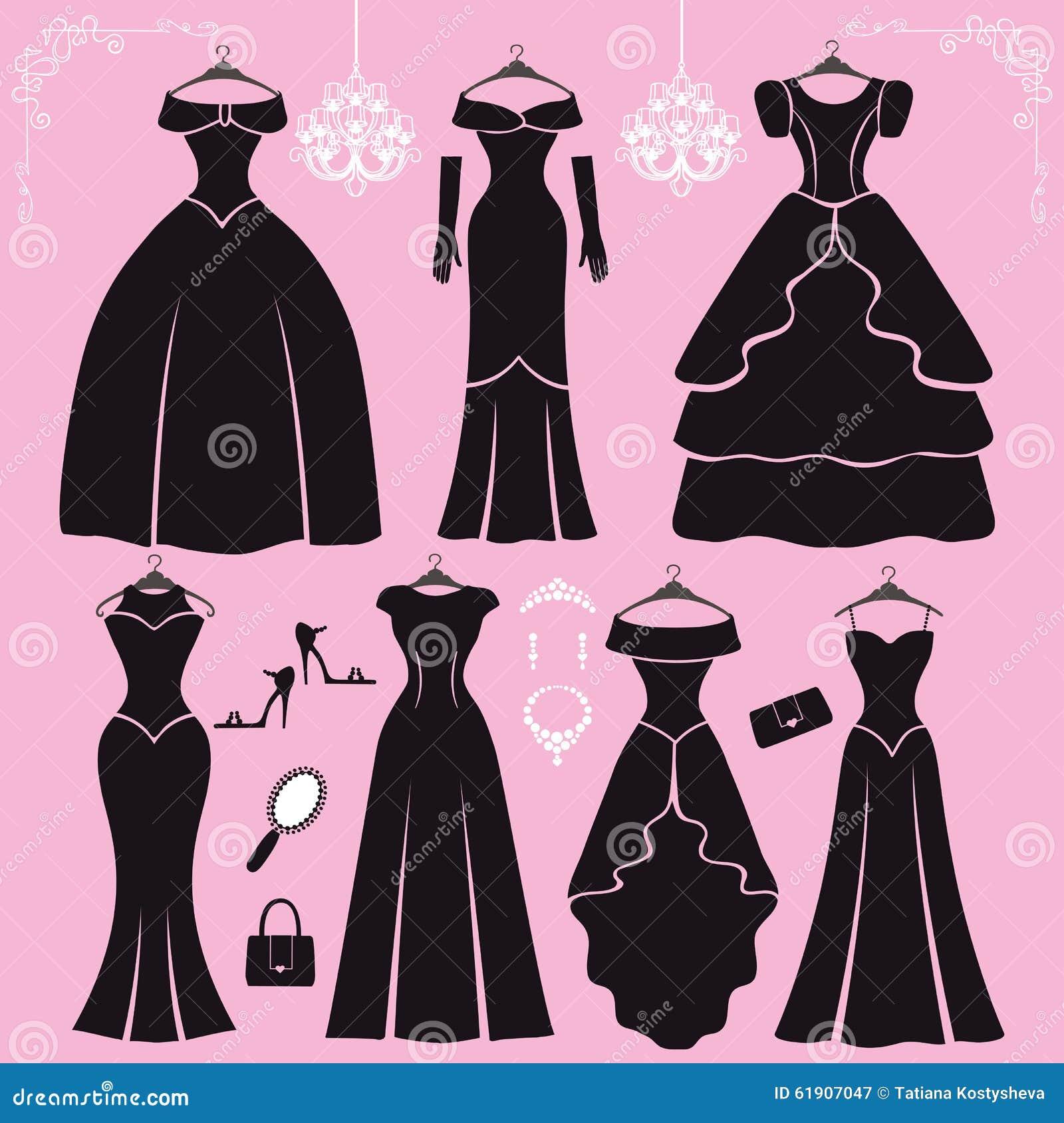 Silueta De Los Vestidos De Fiesta Negros, Accesorios Ilustración del ...