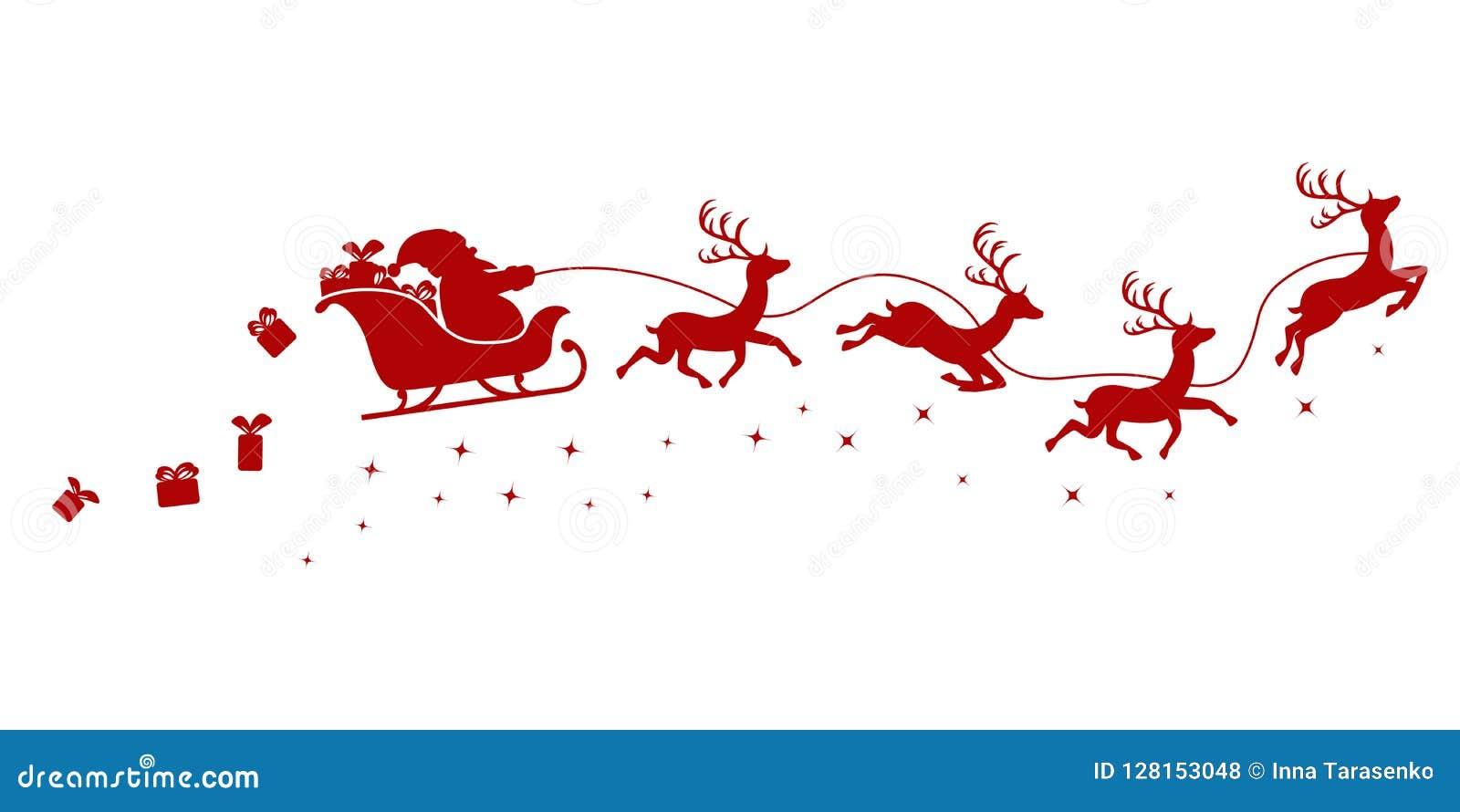 Silueta de Papá Noel en un vuelo del trineo con los ciervos y los regalos que lanzan en un blanco