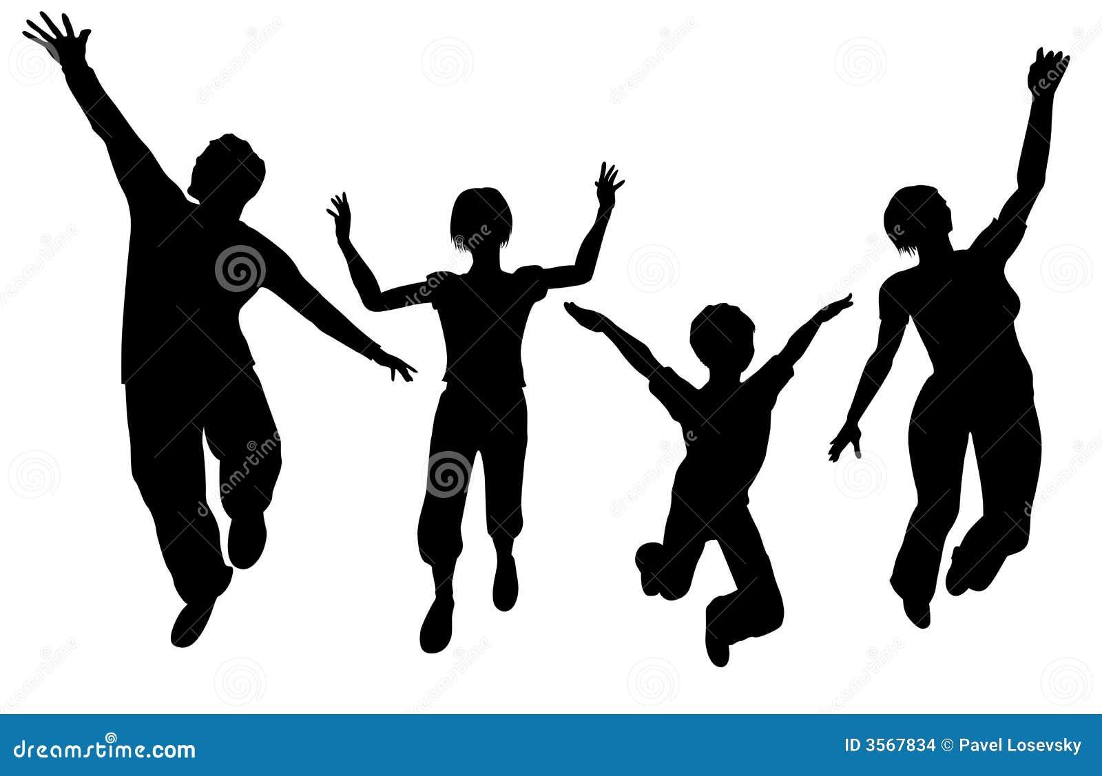 Silueta De Salto De La Familia Ilustración Del Vector
