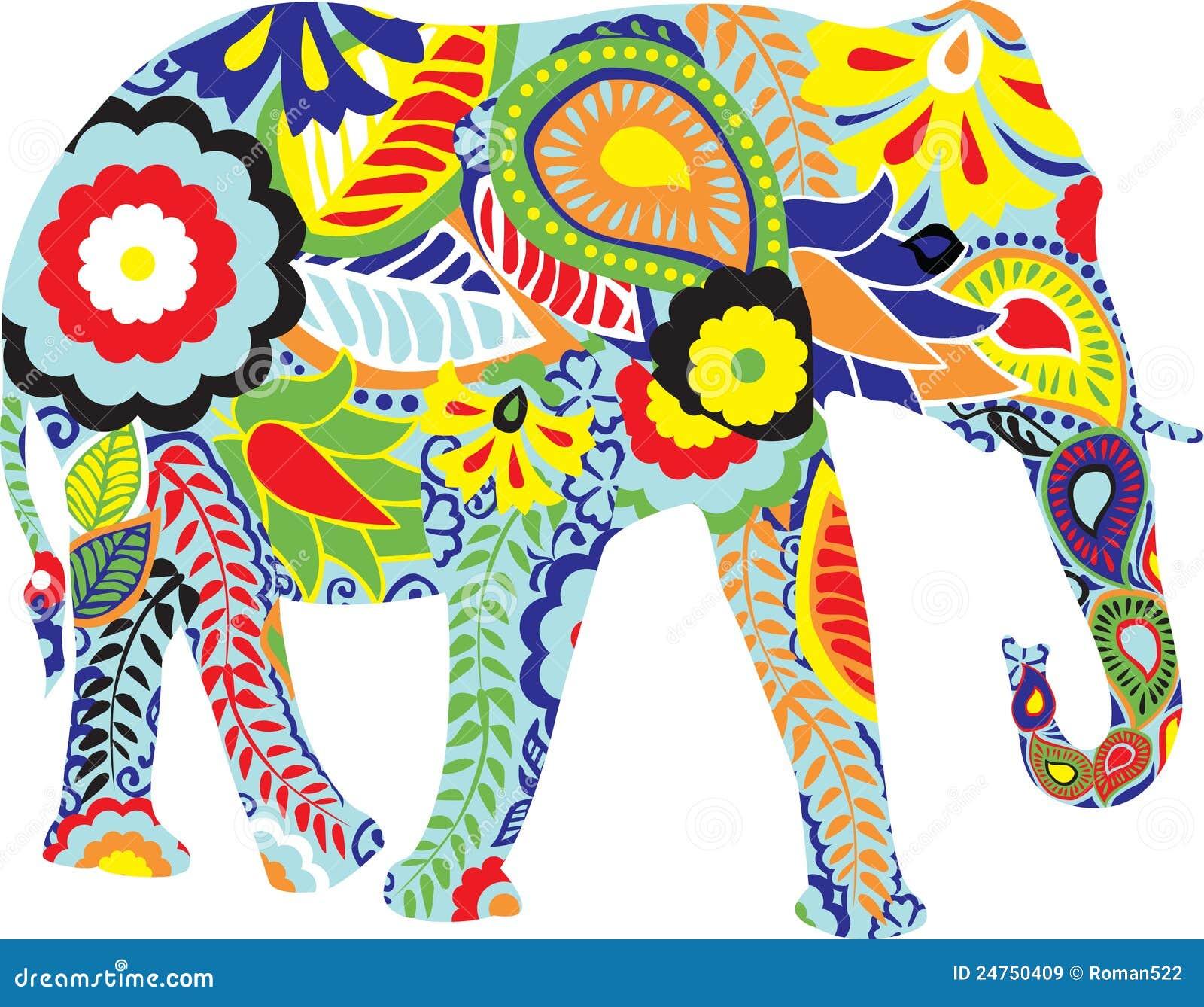 Silueta De Un Elefante Con Diseños Indios Ilustración Del Vector