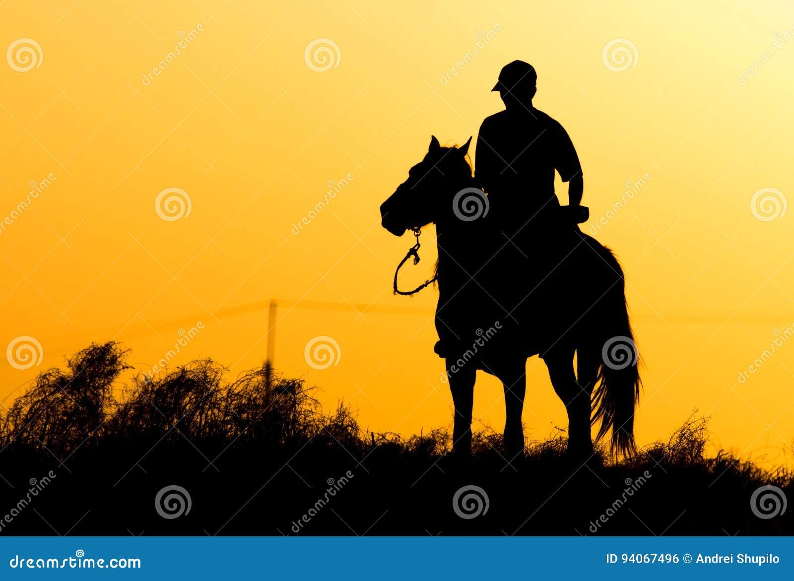 Silueta de un hombre en un caballo en la puesta del sol