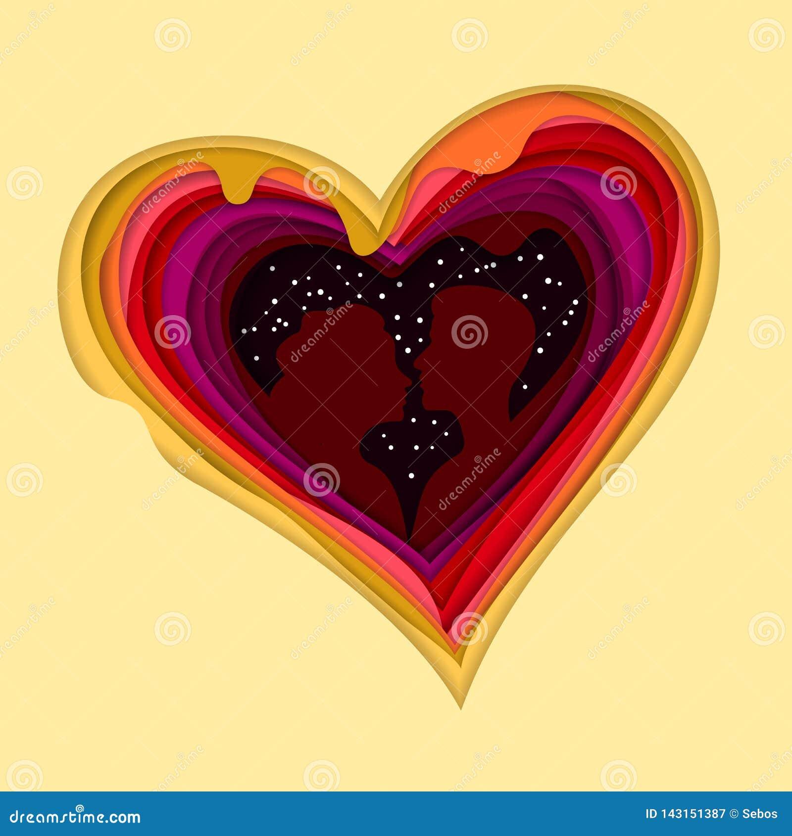 Silueta de un par cariñoso en un fondo de corazones Corte colorido del papel acodado Arte de la capa Ilusión de la profundidad