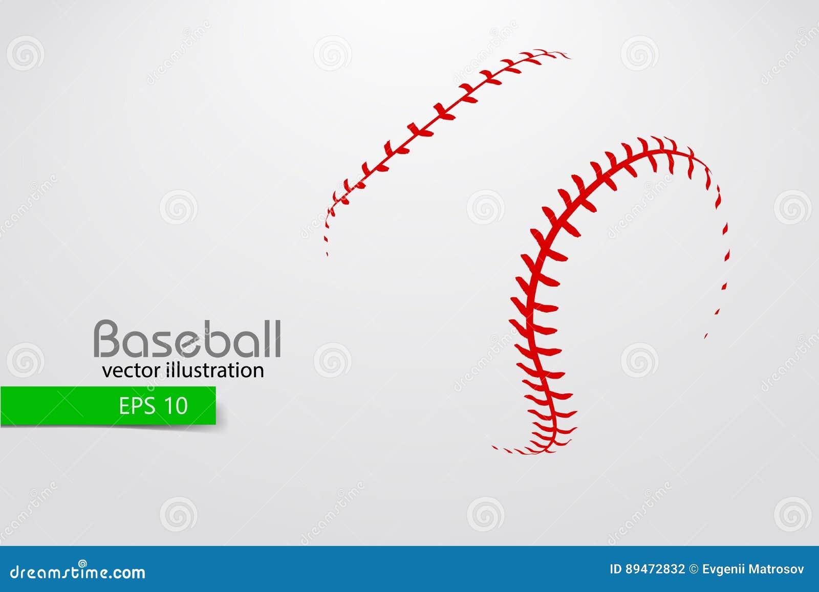 Silueta de una bola del béisbol Ilustración del vector