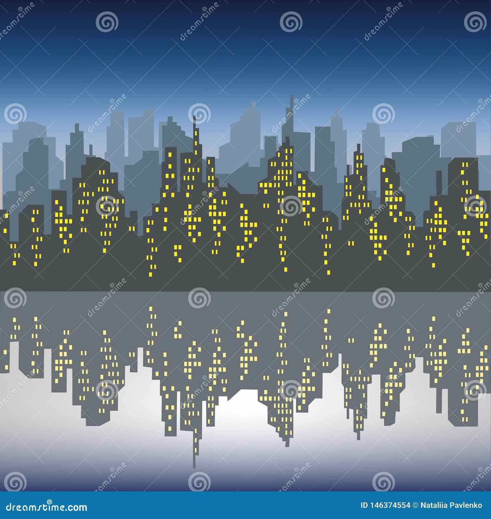 Silueta de una ciudad grande contra un fondo de un cielo azul marino Las ventanas en las casas se encienden La ciudad se refleja