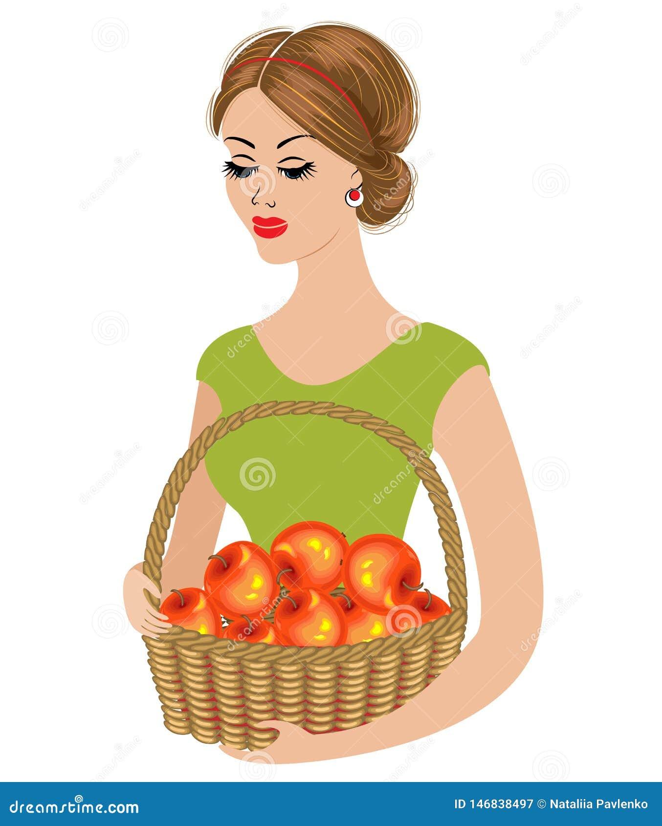 Silueta de una se?ora joven La muchacha cog?a una manzana y sosten?a una cesta con las manzanas maduras Mujer joven y hermosa