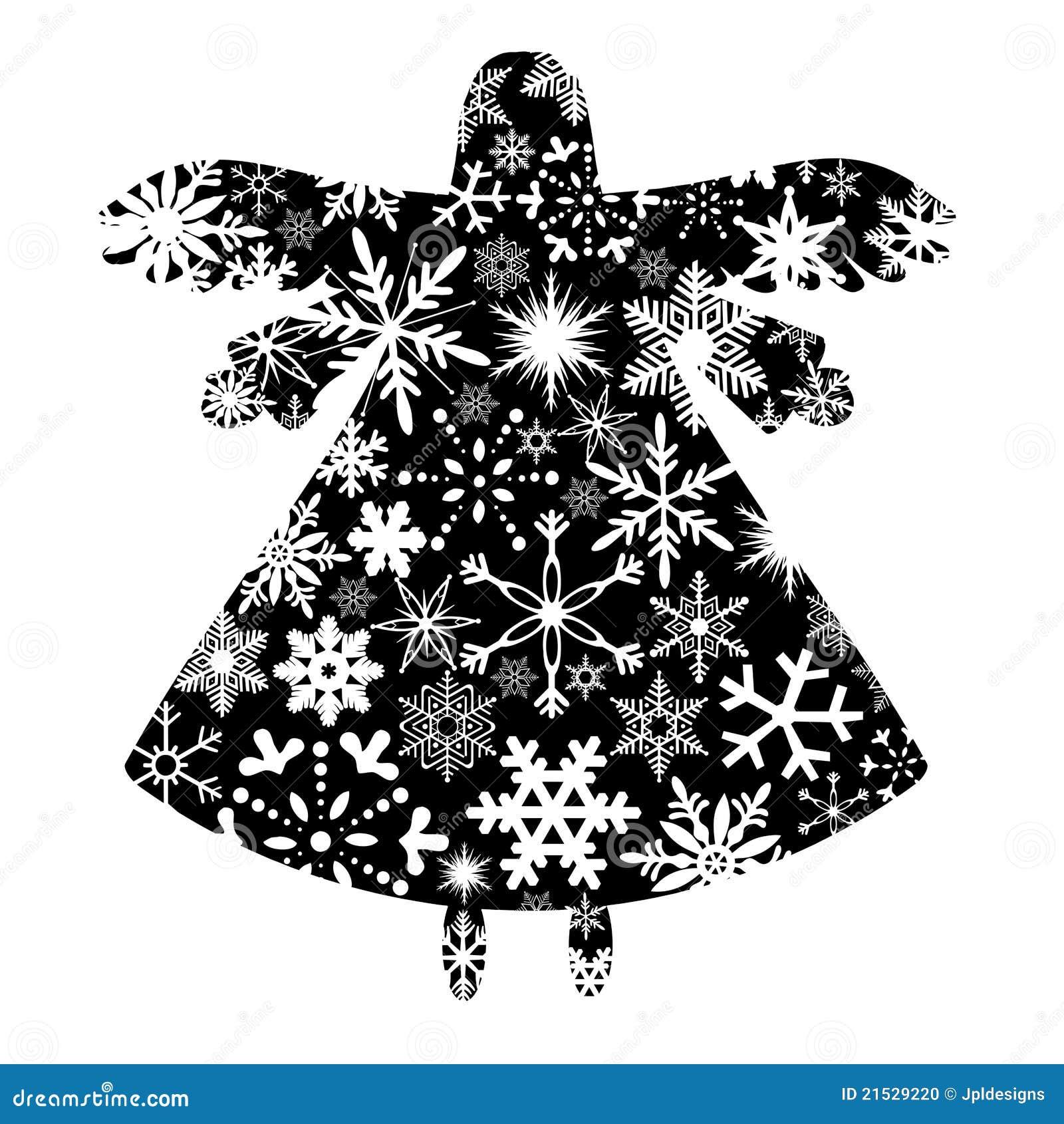 Silueta del ángel de la Navidad con diseño de los copos de nieve
