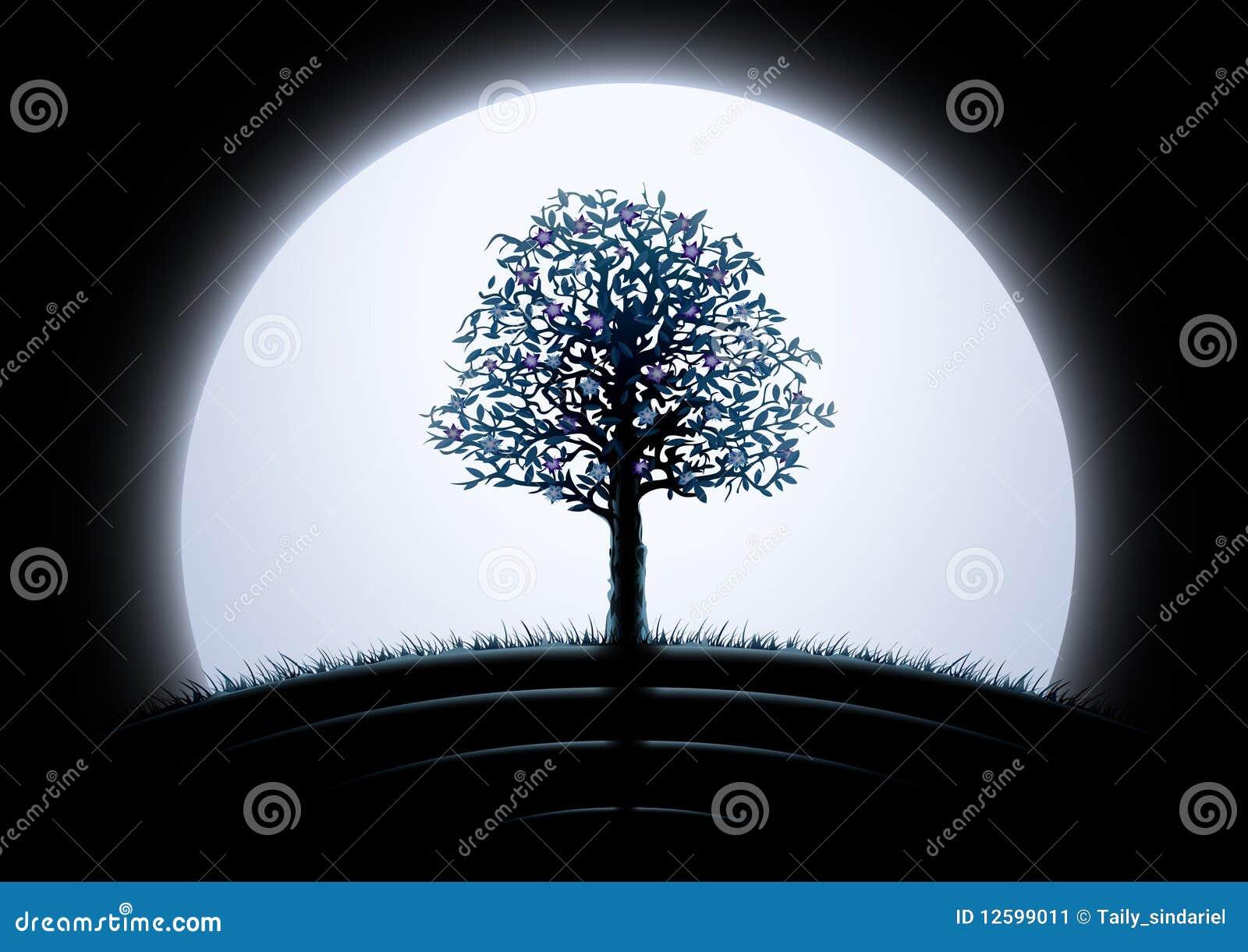 Silueta del árbol de la luna