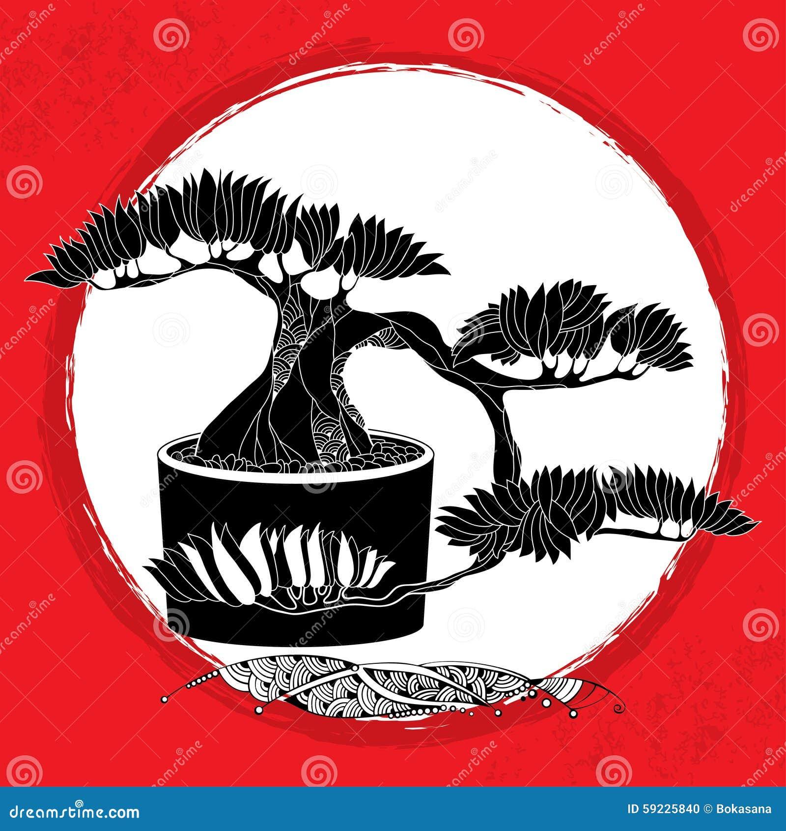 Download Silueta Del árbol De Los Bonsais En El Pote Redondo Símbolo Japonés Tradicional Ilustración del Vector - Ilustración de flora, ilustración: 59225840