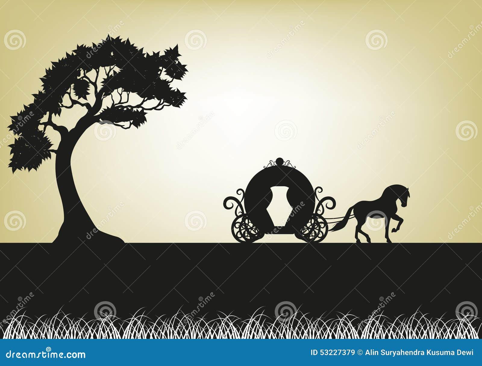 Silueta del árbol y del carro traído por caballo