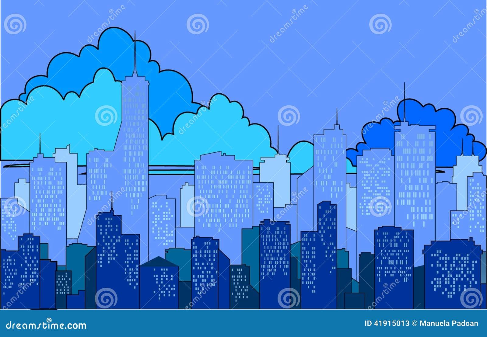 Silueta del ‹del †del ‹del †de la ciudad en un fondo azul