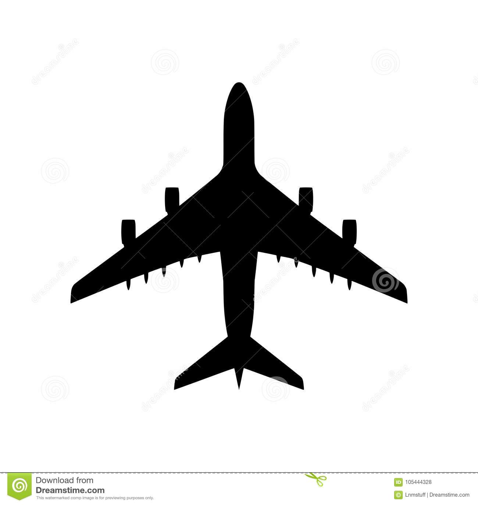 Silueta del aeroplano aislada - png