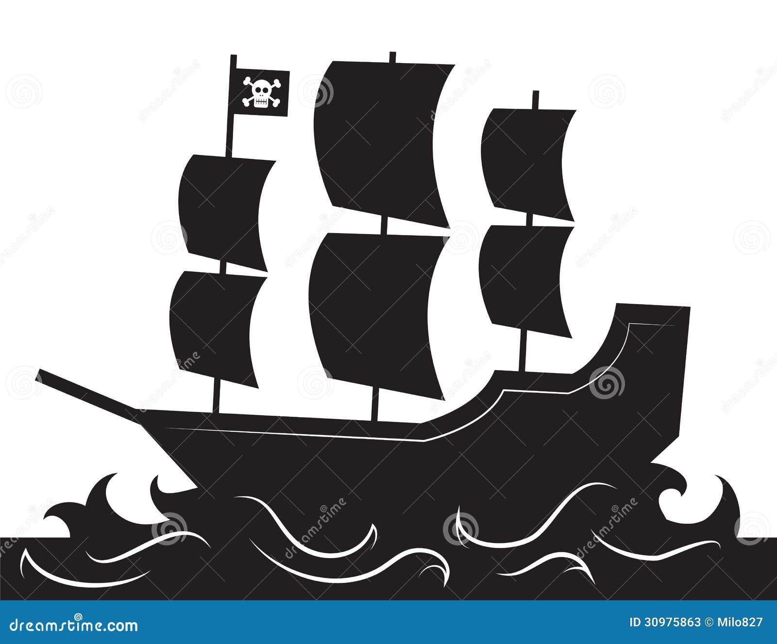 Silueta del barco pirata ilustración del vector. Ilustración de ...