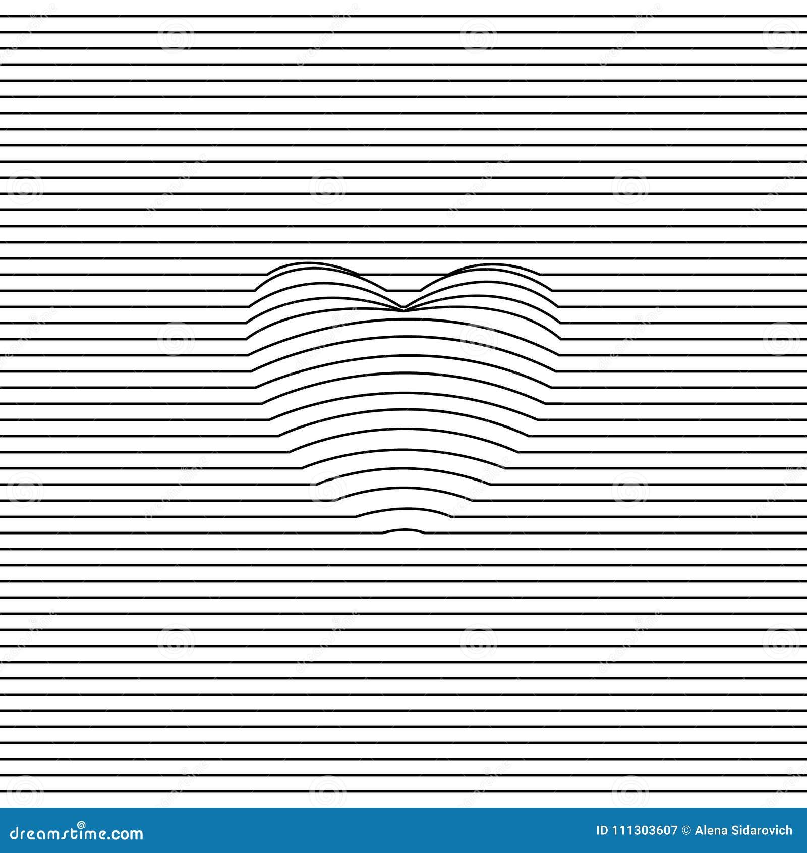 Silueta del corazón, 3d gráficos, corazón bajo líneas, volumétricas