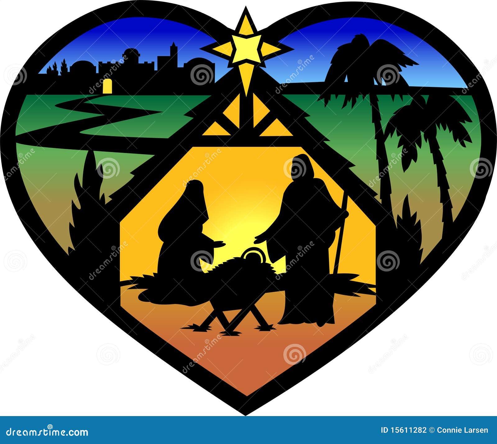 Silueta del corazón de la natividad