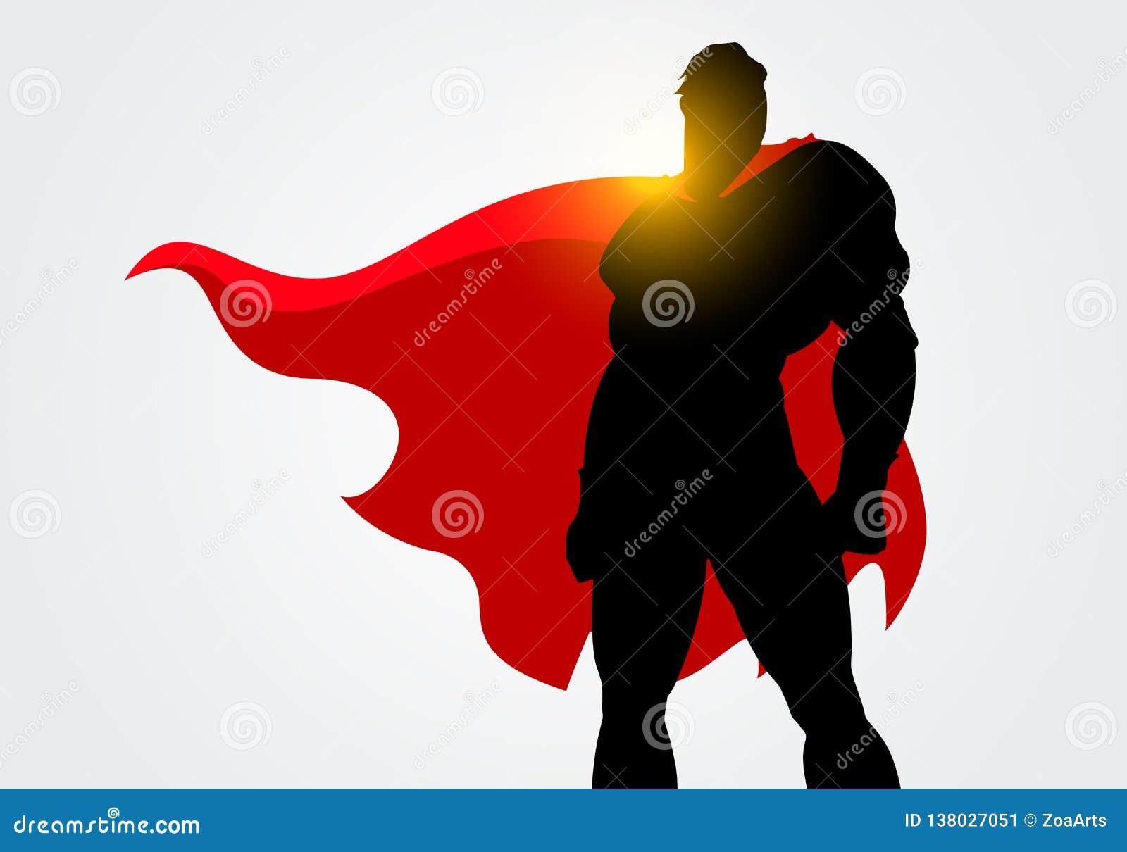 Silueta del ejemplo del vector de un super héroe con la presentación roja del cabo