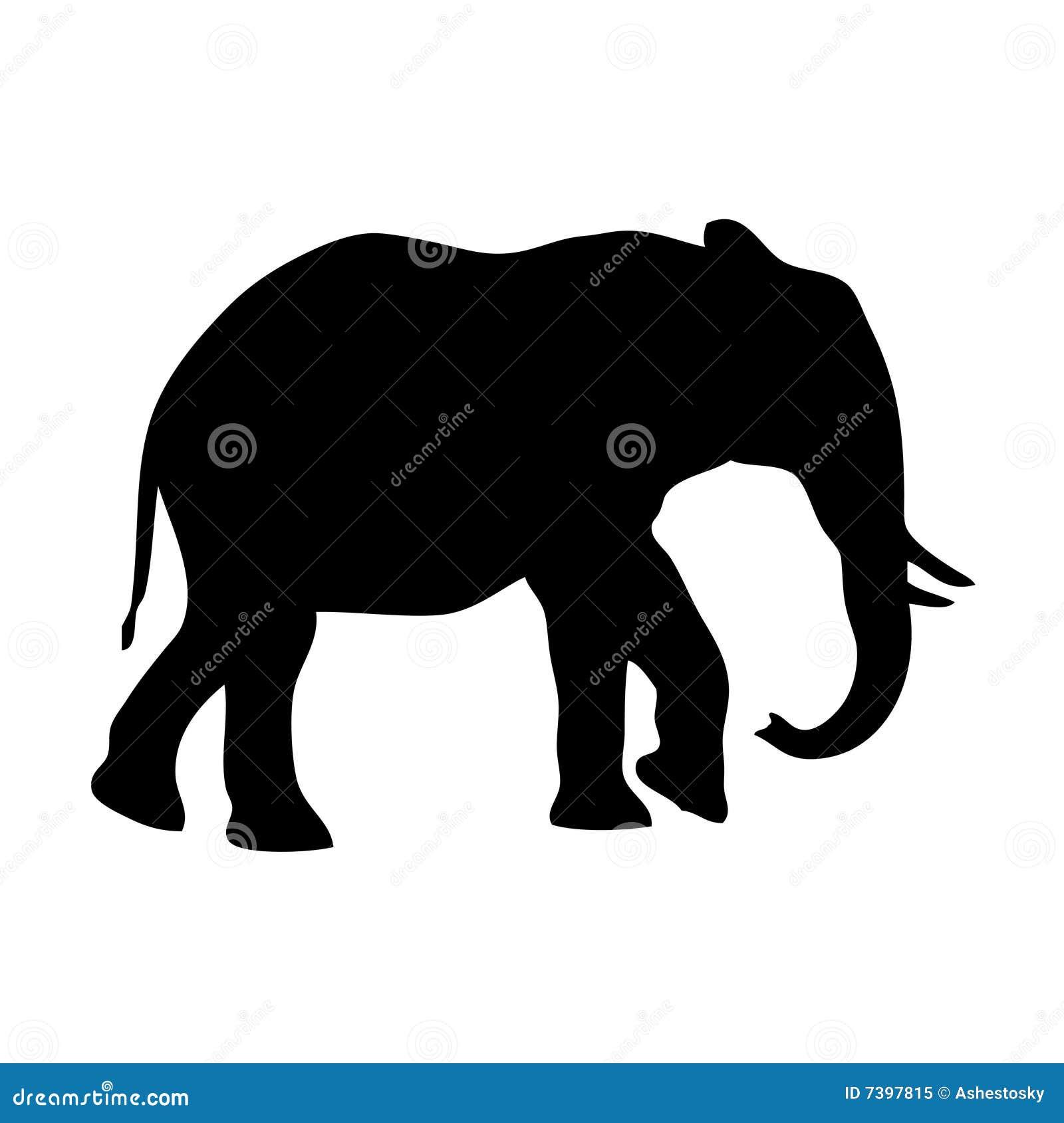 Silueta del elefante del vector