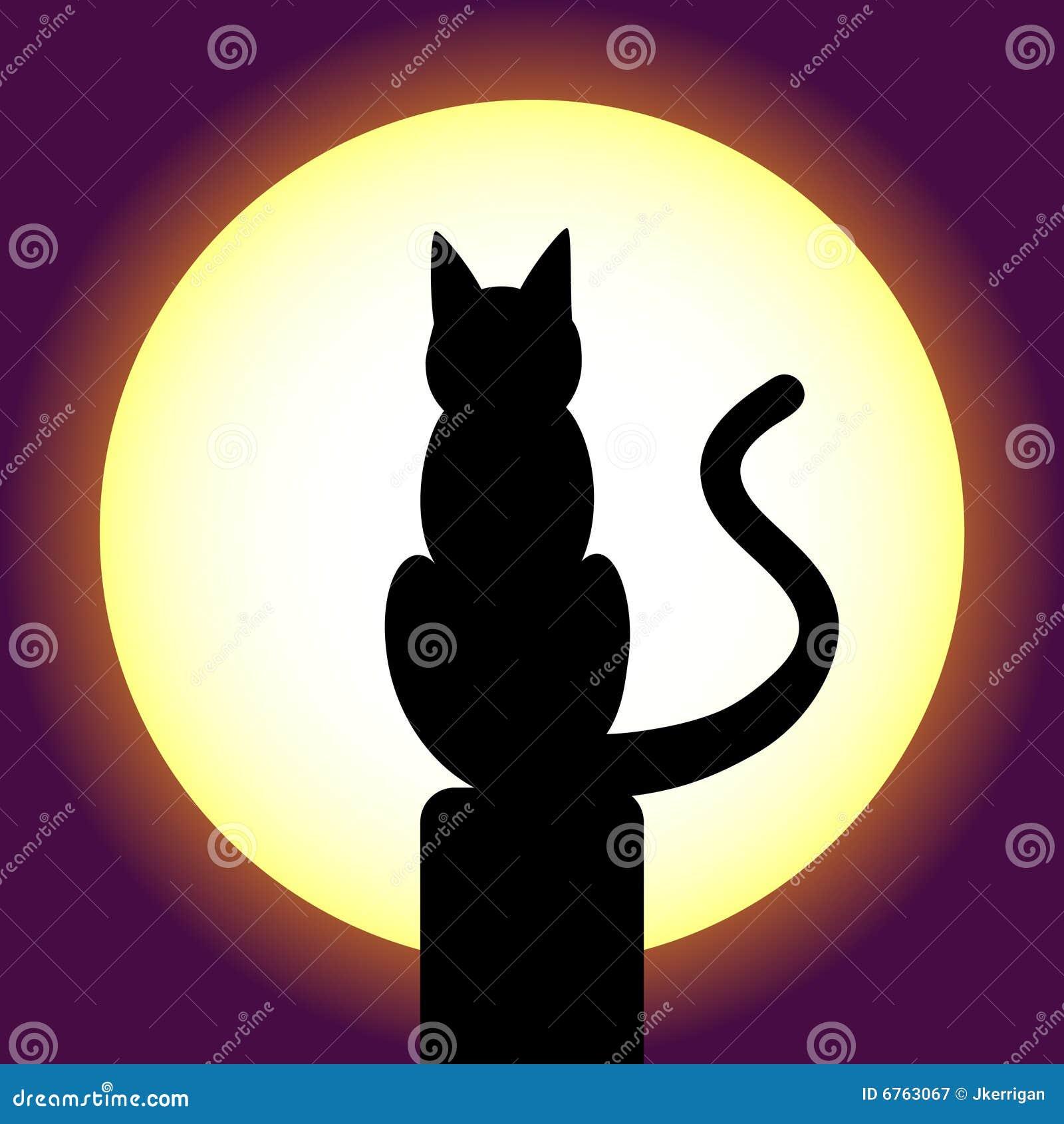 Gatos Enamorados En Una Azotea De La Noche Ilustración Del Vector