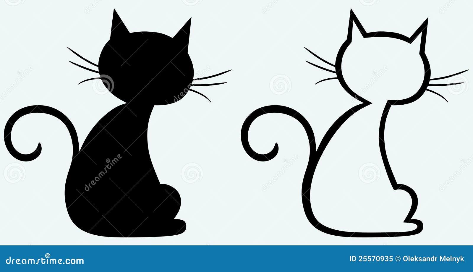 Silueta Del Gato Negro Ilustración Del Vector Ilustración De Mano