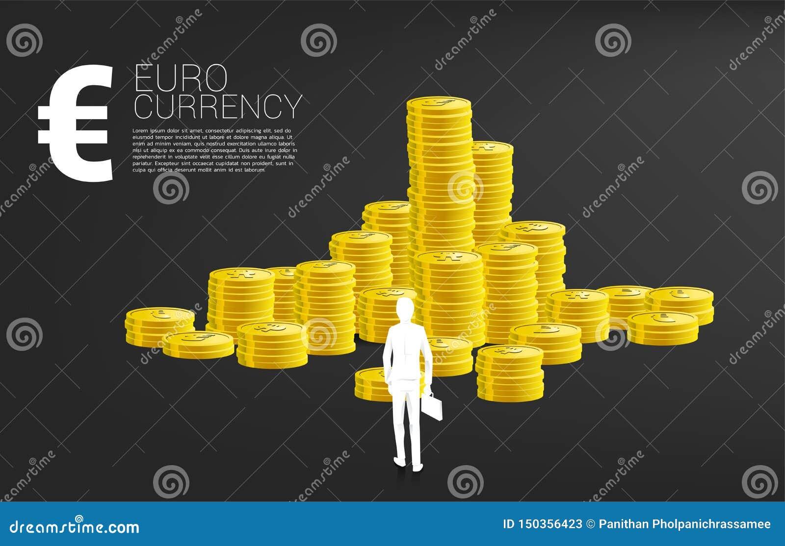 Silueta del hombre de negocios con la situación de la cartera delante del icono euro del dinero y pila de moneda