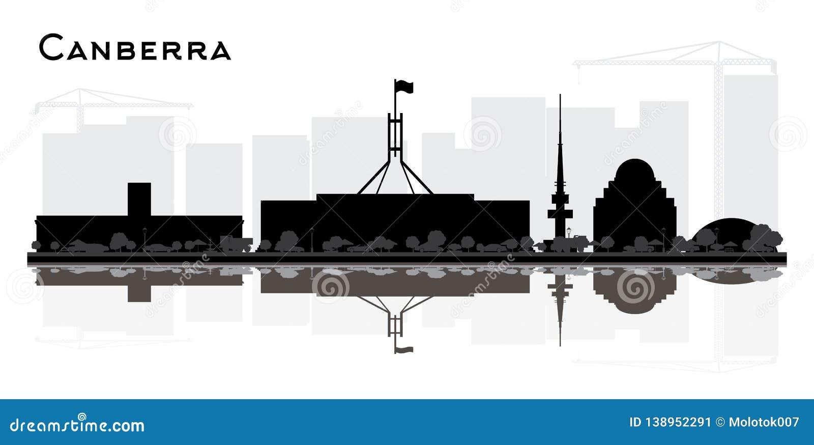 Silueta del horizonte de la ciudad de Canberra Australia con los edificios negros y reflexiones aisladas en blanco