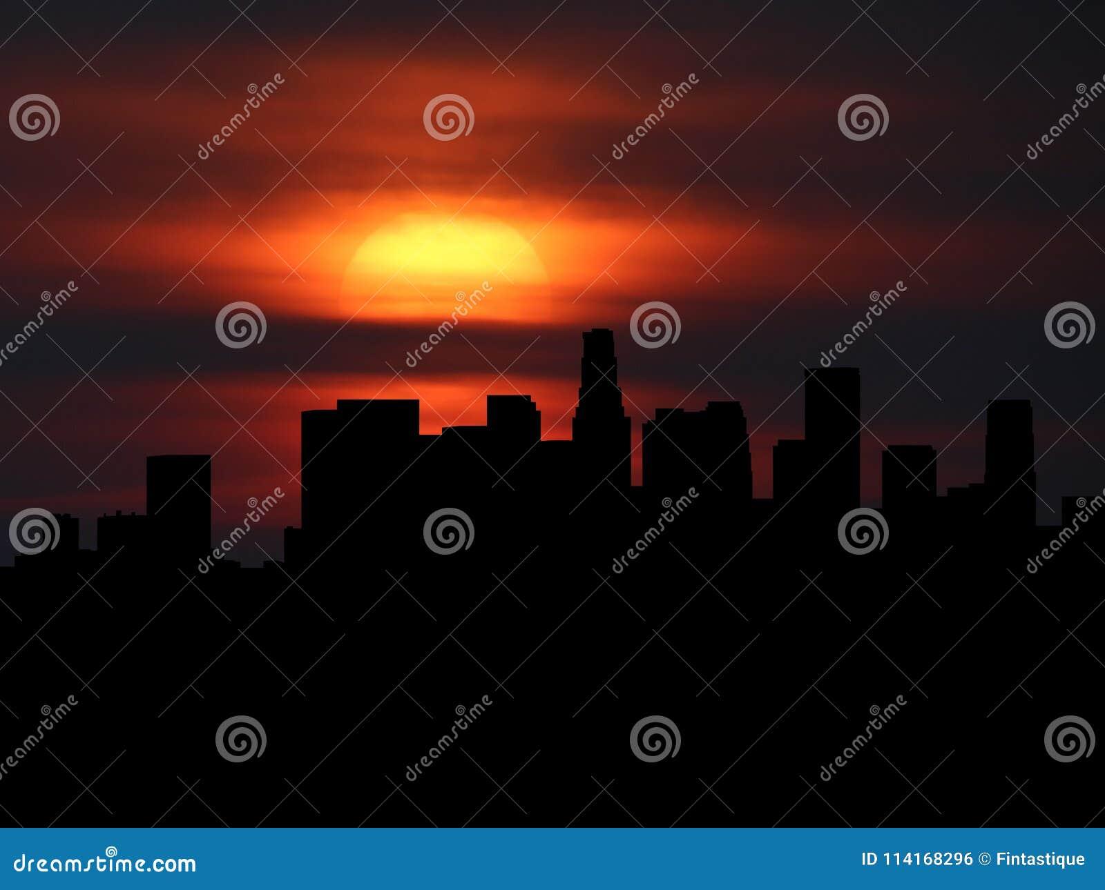 Silueta del horizonte de Los Ángeles con el ejemplo de la puesta del sol