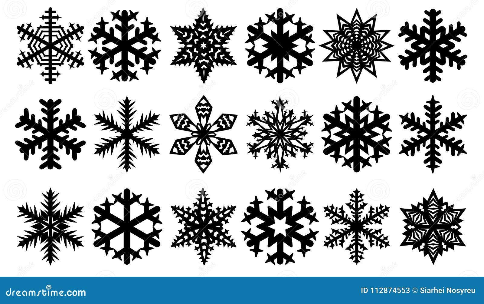 Vector Copo De Nieve: Silueta Del Invierno De Los Copos De Nieve, Sistema Del