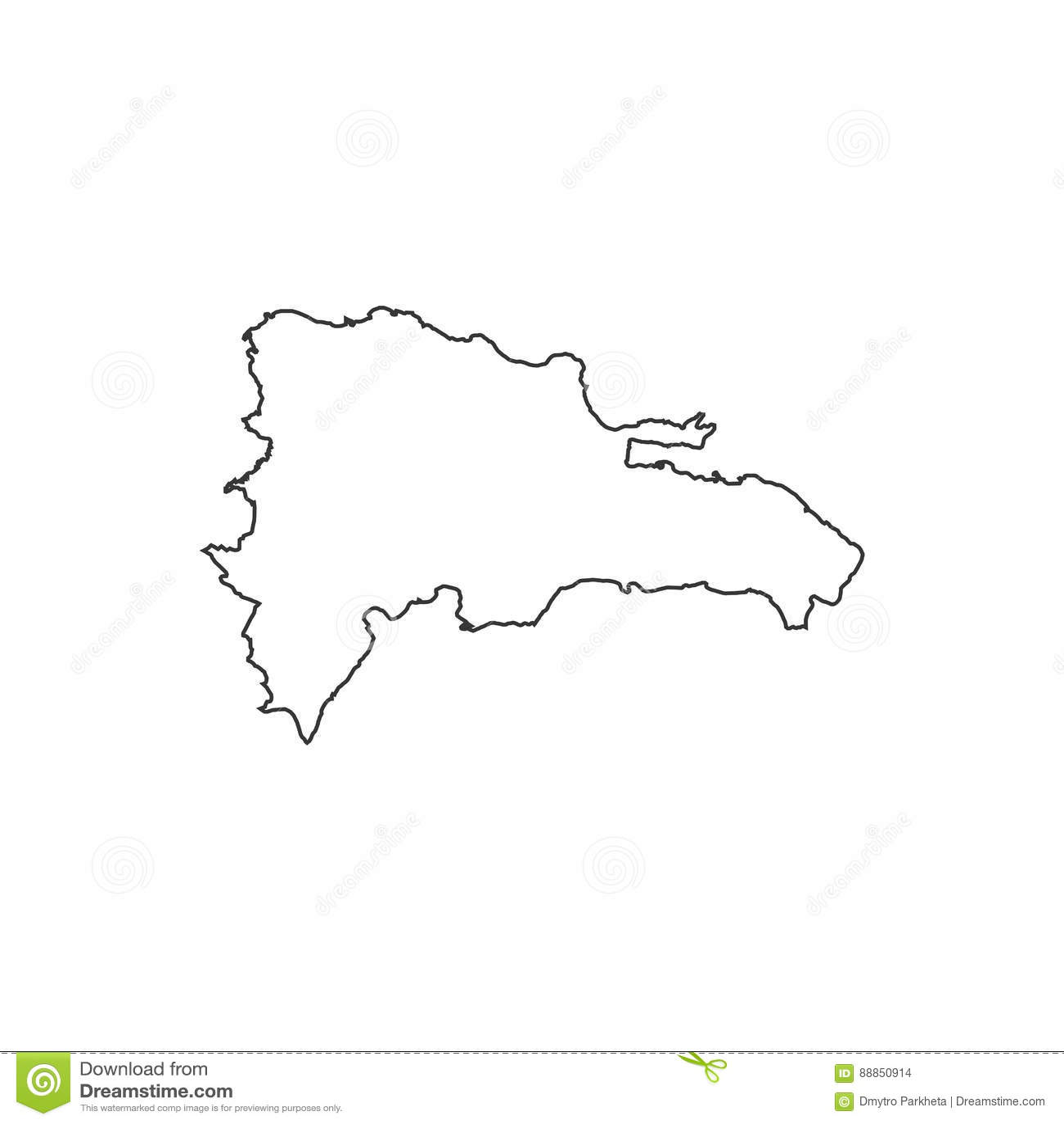 Mapa De Republica Dominicana En Blanco.Silueta Del Mapa De La Republica Dominicana Ilustracion Del